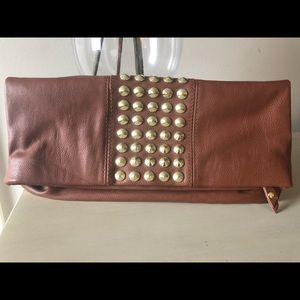 Steve Madden faux leather studded fold over clutch